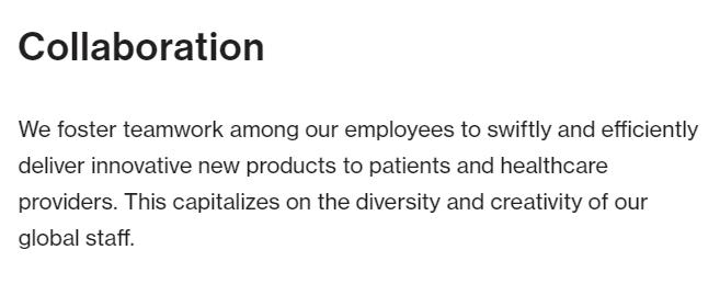 Novartis pharma company, lists collaboration as its primary value.