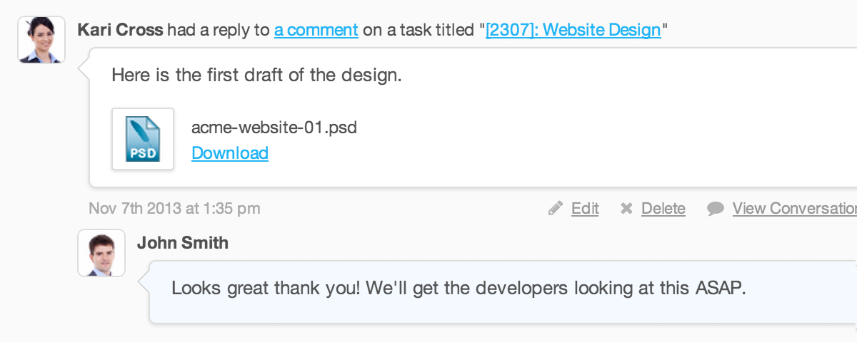 Project task comments