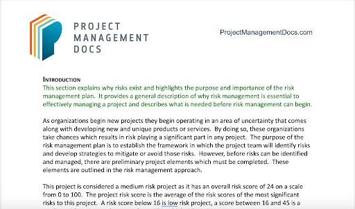 Risk Management Plan Template - Project Management Docs