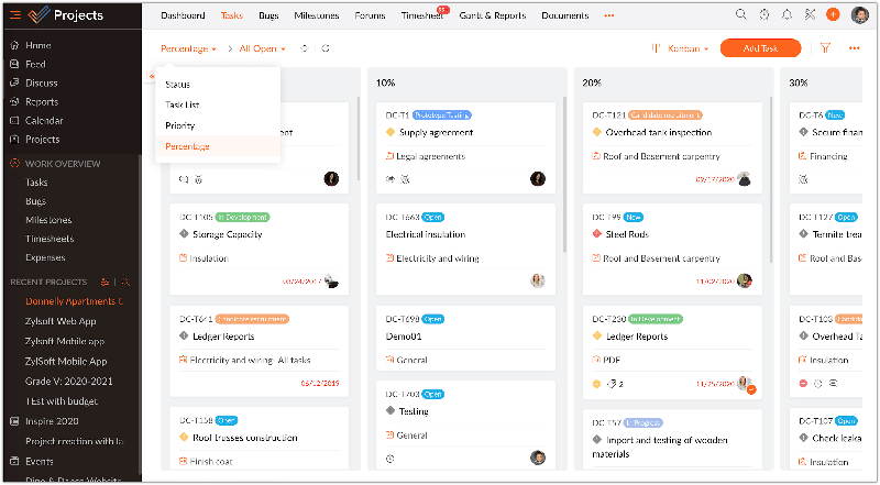 Zoho Projects Kanban View
