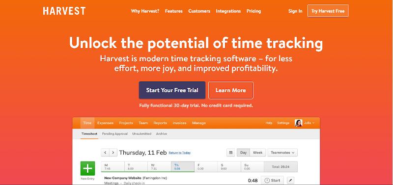 Harvest is a versatile time management software