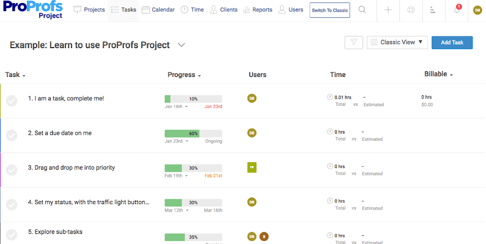 oProfs Project is one of the best time management software