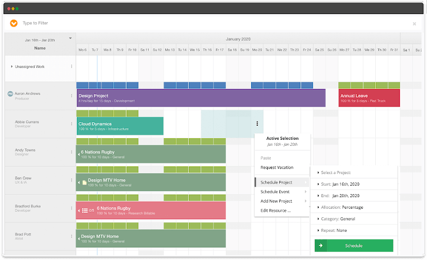 Hub Planner Project Scheduling Tool