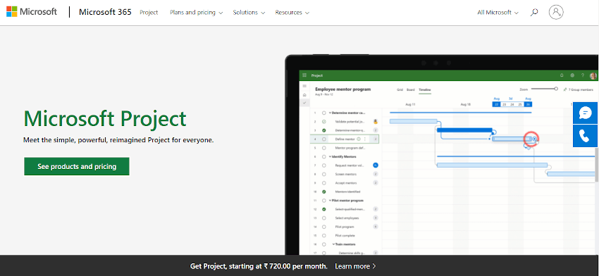 MS Project project scheduling tool