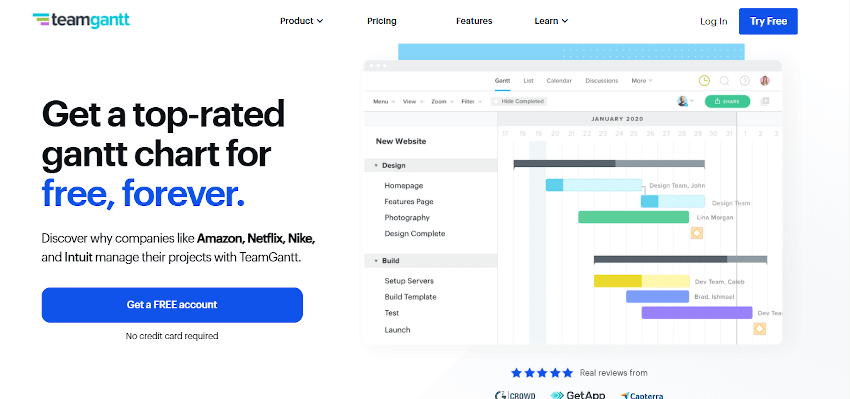 TeamGantt project scheduling tool