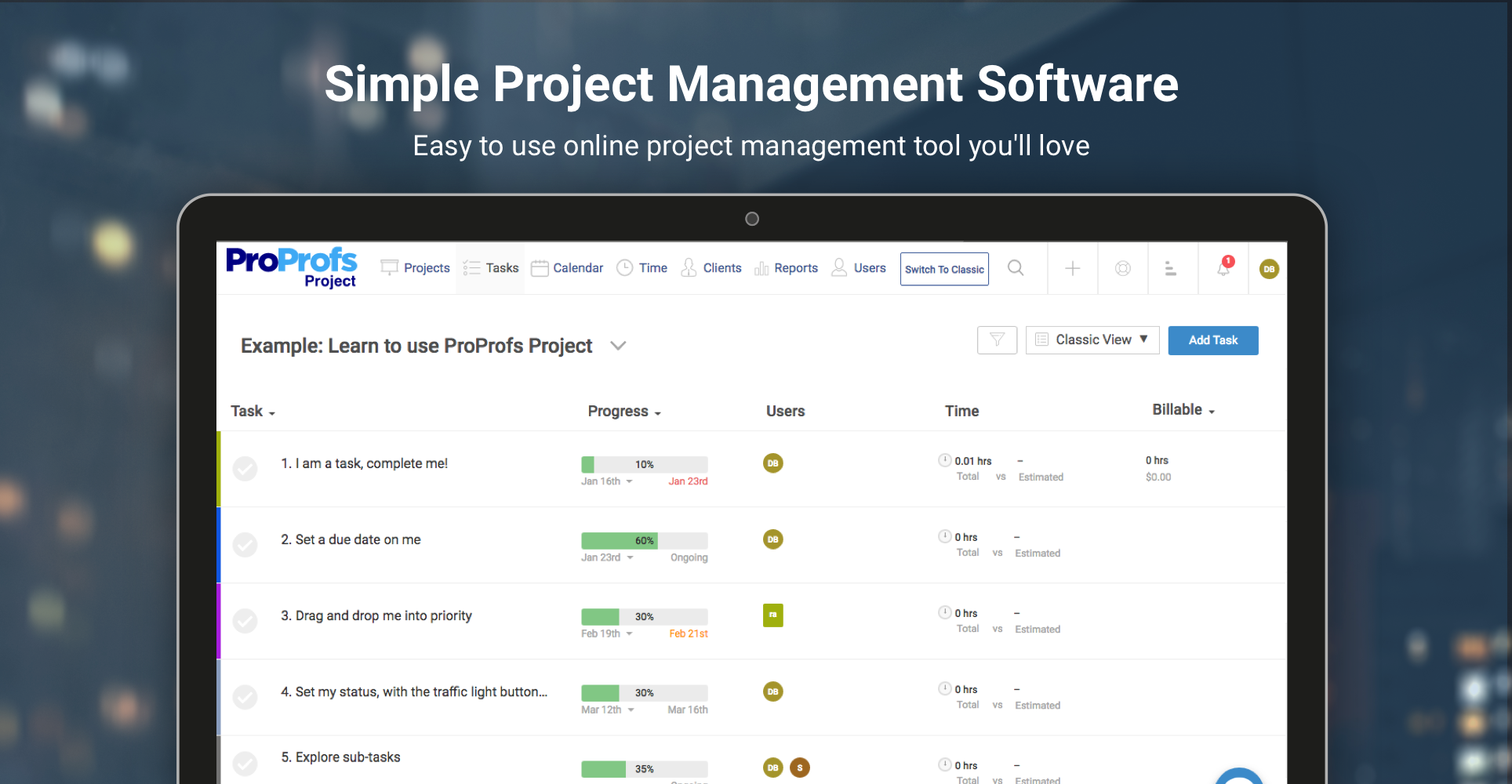 Simple Project Management Software Proprofs Project